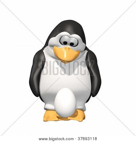 Penguin Father with Egg: A loving penguin father looking down and holding his baby's egg on his feet. Isolated on white. poster