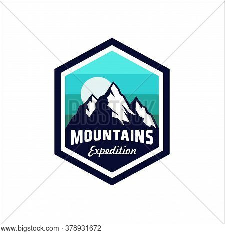 Vintage Retro Badges Mountain Logo With Variety Style Element. Camping Labels Concepts. Mountain Exp