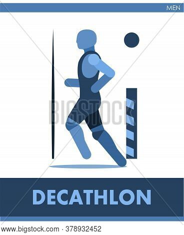 Decathlon Pictogram. Man Competes In Ten Events. Icon Of Sportsman Track And Field. Men Or Boys Athl