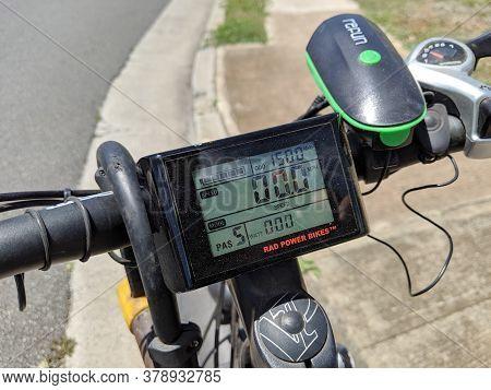 Honolulu - July 24, 2019: Bike Handle Bar With Rad Power Bikes Display Screen, Lock, And Light.   Th
