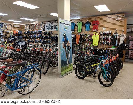 Honolulu - July 21, 2018: Bikes And Accessories On Display Inside Mccully Bike Shop.