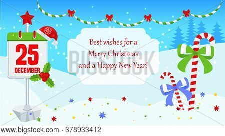 Bright Christmas Card With Characters For Holiday Decorations. Calendar, Date 25 December. Candy Can