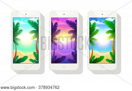 Phone Wallpaper Vector Template. Ui Wallpaper. Morning, Evening, Day On The Phone Screen Saver.
