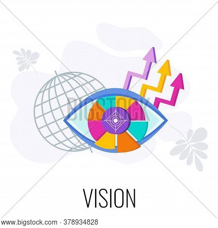 Business Vision Statement. Eye Out Of Segments. Development Directions Of Company In Market. Word Vi