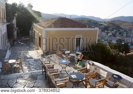 Symi / Greece / September 14 2008 : A Relaxed Cafe In The Heart Of The Old Town Of The Beautiful Gre