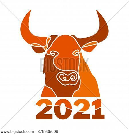 Head Of Bull Silhouette Full Face, Drawn With One Line. Terracota Color. Symbol Of 2021 On Chinese C