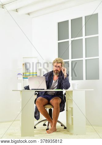 Rich Man. Online In Social Media. Working Barefoot At Home Office. Social Distancing Concept. Man Is