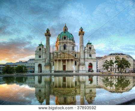 Karlskirche in Vienna Austria in the morning at sunrise poster