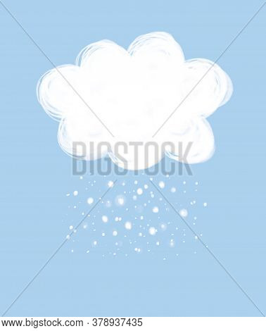 White Doodle Cloud Isolated On A Light Blue Background. Simple Pastel Color Snowy Cloud With Snowfla