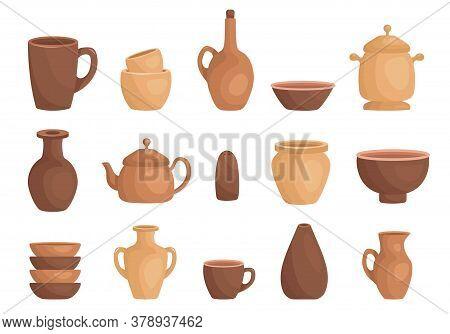 Clay Kitchenware Assortment Set. Cup, Mug, Vessel, Jug, Plate, Pot, Vase, Kettle, Salt Shaker.