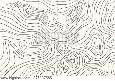 Topographic Map Or Sheet With Contours, Relief, Features, Mountain Texture And Grid.