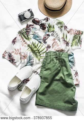 Summer Vacation Walking Women's Clothing - Shirt Plant Print Short Sleeve, Bermuda Shorts, Sneakers