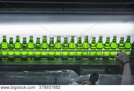 Qingdao, China.  June 26, 2016.  A Tsing Tao Beer Bottling Production Line Within The Tsing Tao Beer