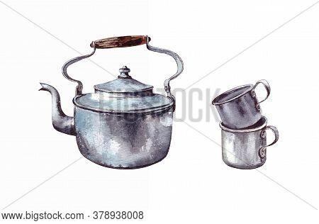 Watercolor Illustration.vintage Aluminum Old Teapot And Two Aluminum Mugs. Vintage Tableware.isolate