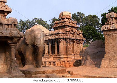 Pancha Ratha Temples In Mammallapuram, India