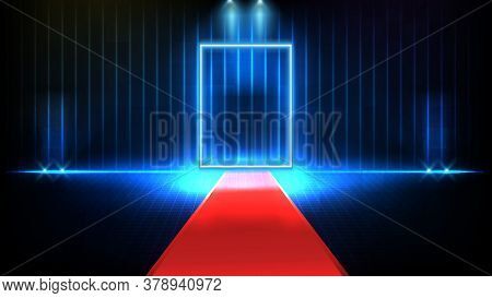 Abstract Futuristic Background Of Red Empty Stage Covered With Red Carpet And Lighting Spotlgiht Sta
