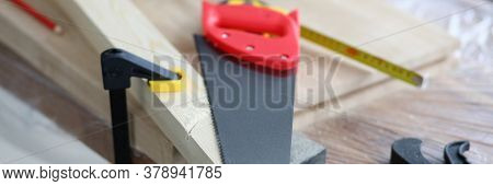 Workbench With Wooden Blocks And Carpentry Tools. Furniture Factory And Workshop. Modern Training Pr