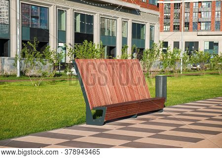 Proportion, Practicality, And Sturdy Construction Of Modern Urban Street Hardwood Furniture. Contemp