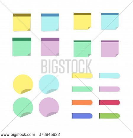Sticky Notes Set. Circle Square And Strips Stickers In Flat Style Isolated On White Background