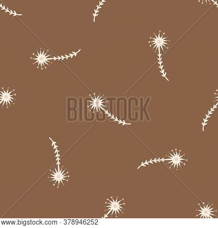 Seamless Background Gender Neutral Baby Dandelion Seed Pattern. Simple Whimsical Minimal Earthy 2 To