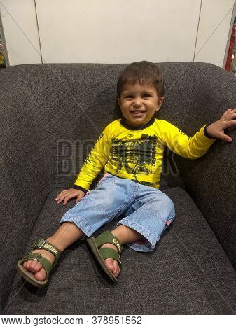 New Delhi India – March 3 2020 : 23 Month Baby Boy Outdoors In Summer - Stock Photo, Cute Boy Playin