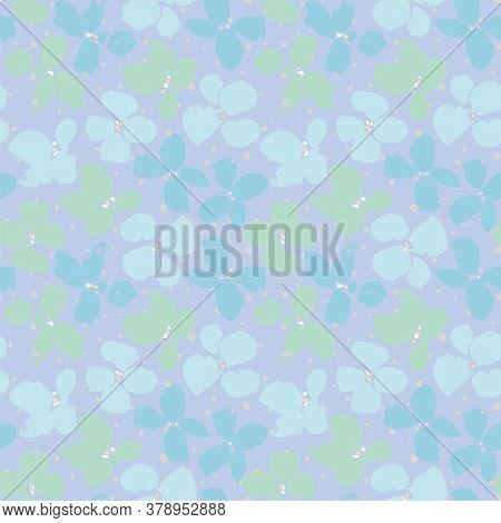 Vector Seamless Pattern With Flowers In Textured Grunge Style On Dotted Backgriound. Bold Floral Des