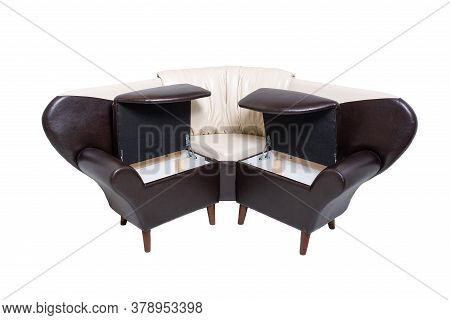 Single Leather Office Sofa With Opened Hidden Wooden Containers Inside Isolated On White Background,