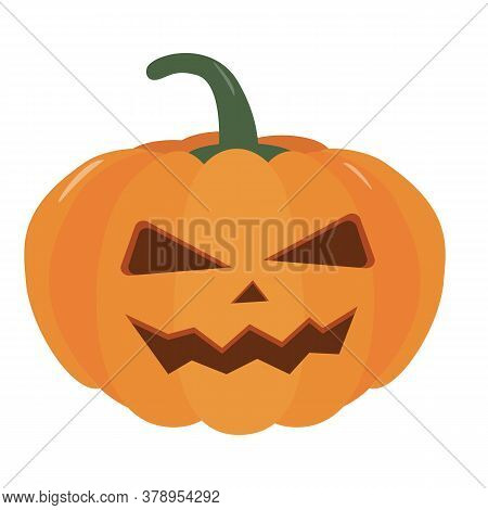 Pumpkin Halloween Holiday. Halloween Pumpkin With Funny Scared Face. Isolated Vector Sign Symbol. Au