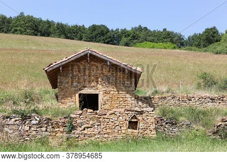 Typical Stone Hut Called Cadole In French Language In Theize, Beaujolais, France