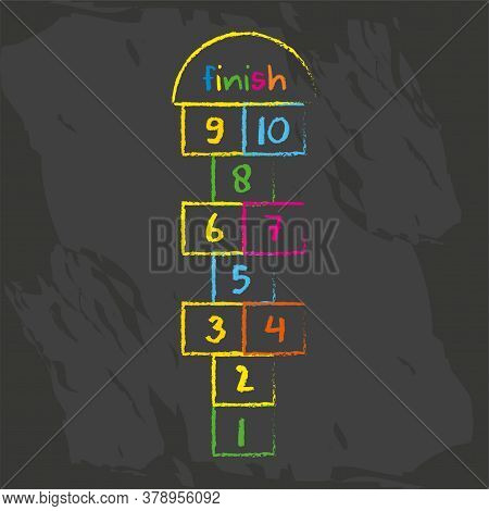 Hopscotch Game Symbol Of Childhood. Childrens Game Drawn With Chalks.playground With Numbers