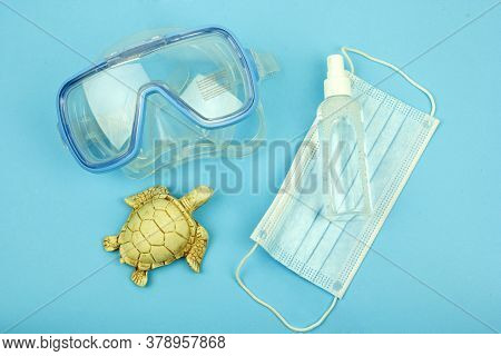 Scuba Diving Mask For Swimming And Disinfection, Virus Protection, Symbol Of Summer 2020, The Concep