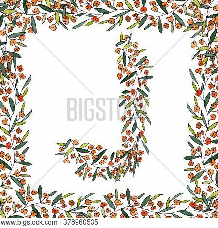 Letter J Of The English And Latin Floral Alphabet. Graphic In Square Frame On A White Background. Le