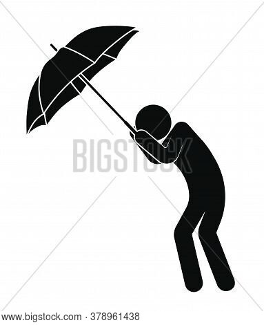 Stick Man, Person With An Umbrella Is Protected From Strong Wind And Bad Weather, Cannot Stay On His
