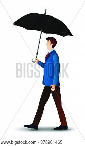 Man In Classic Clothes Is Walking Under An Umbrella. Health Protection In Bad Rainy Weather. Vector