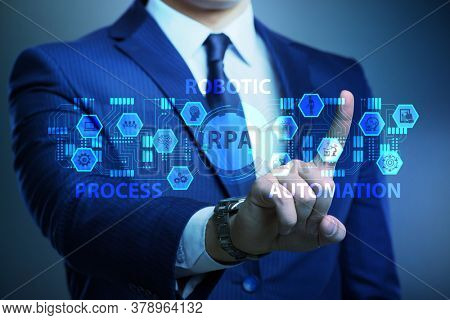 Businessman pressing buttons in RPA concept