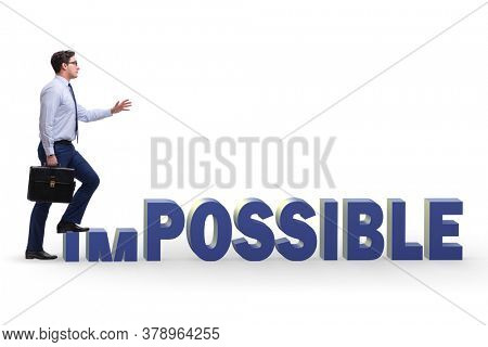 Businessman in impossible business concept
