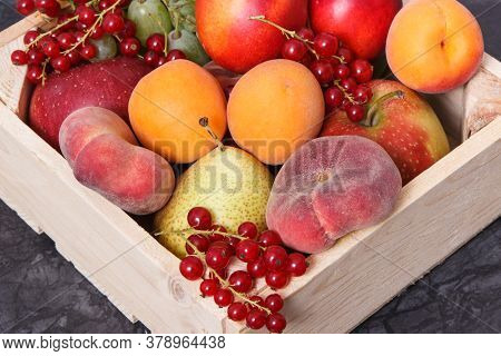 Fresh Healthy Fruits As Source Natural Minerals And Vitamins. Concept Of Slimming And Dieting