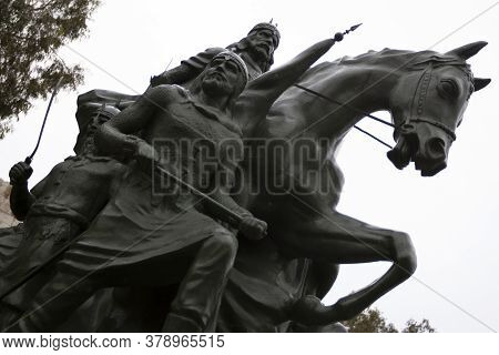 Damascus/syria 03/29/2010 : Statue Of Saladin (salahaddin Ayyoubi), Great Commander Who Is Known For