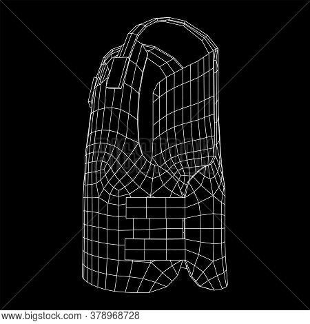 Police Flak Jacket Or Bulletproof Vest. Bullet Proof Concept. Wireframe Low Poly Mesh Vector Illustr