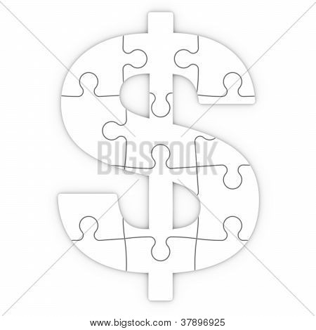 Puzzle Dollar With Clipping Path