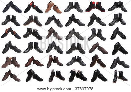 36 pairs of male shoes collage