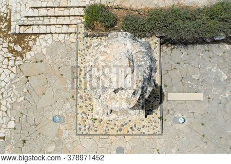 Roaring Lion Memorial Statue Of Tel Hai Battle, Aerial Image.