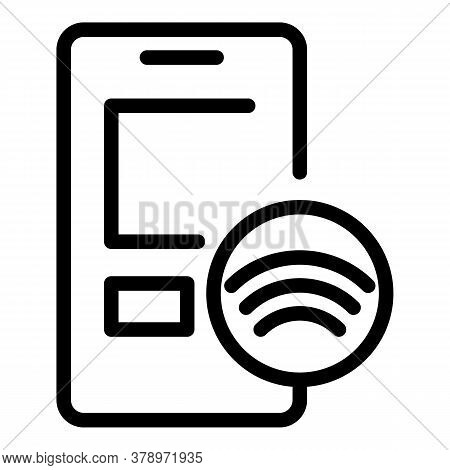 Smartphone Wifi Remote Access Icon. Outline Smartphone Wifi Remote Access Vector Icon For Web Design