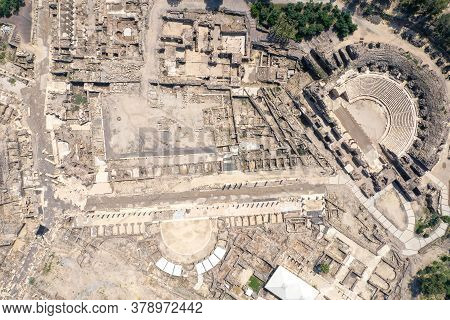 Aerial View Of Beit Shean Ancient Ruins.
