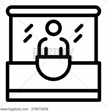 Bus Ticket Buy Kiosk Icon. Outline Bus Ticket Buy Kiosk Vector Icon For Web Design Isolated On White