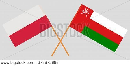 Crossed Flags Of Oman And Poland. Official Colors. Correct Proportion. Vector Illustration