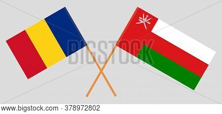 Crossed Flags Of Oman And Romania. Official Colors. Correct Proportion. Vector Illustration