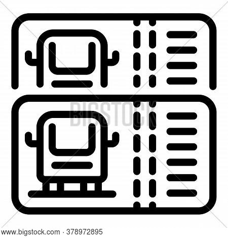 Cashless Bus Ticket Icon. Outline Cashless Bus Ticket Vector Icon For Web Design Isolated On White B