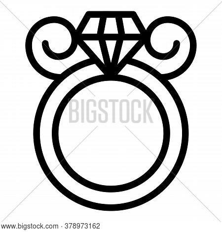 Metallurgy Diamond Ring Icon. Outline Metallurgy Diamond Ring Vector Icon For Web Design Isolated On