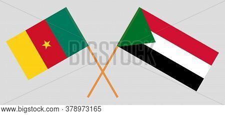Crossed Flags Of Sudan And China. Official Colors. Correct Proportion. Vector Illustration